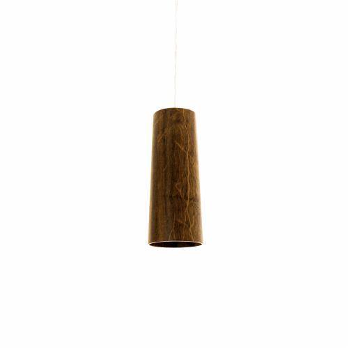 Pendente Longo Cônico Tubo Vertical Madeira Imbuia 30x12cm Accor Iluminação 1x E27 25W Bivolt 116 Mesas e Balcões