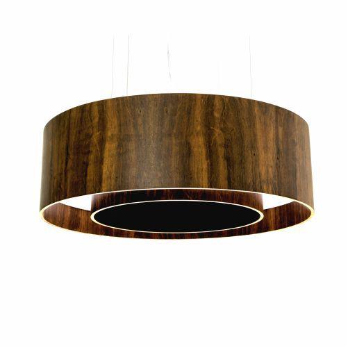 Pendente Duplo Aberto Cilindrico Madeira Imbuia 25x60cm Accord Iluminação 3x E27 25W Bivolt 215 Salas e Cozinhas