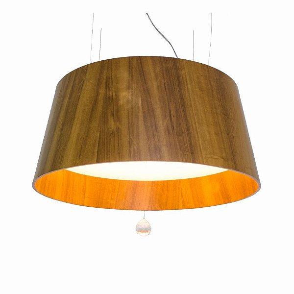 Pendente Liso Cristal Cônico Redondo Madeira Imbuia 35x75cm Accord Iluminação 4x E27 Bivolt 255C Salas e Quartos