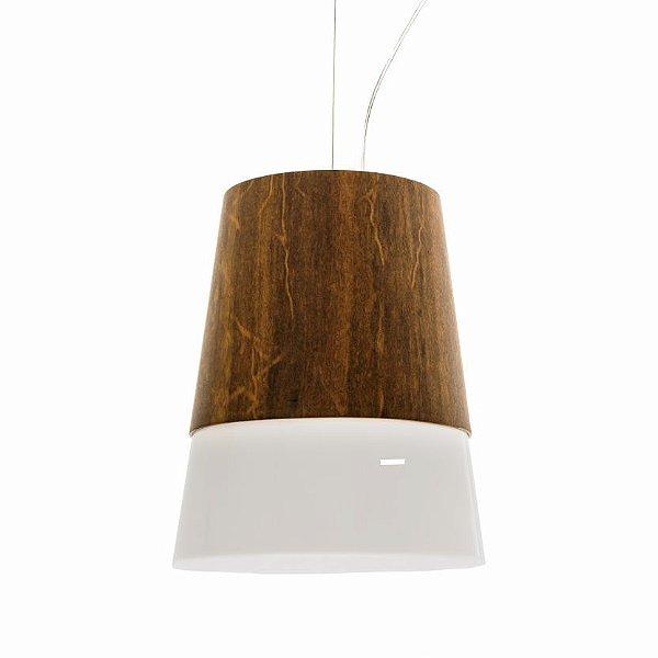 Pendente Cone Acrílico Vertical Madeira Imbuia 33x27,5cm Accord Iluminação 1x E27 Bivolt 264 Salas e Mesas