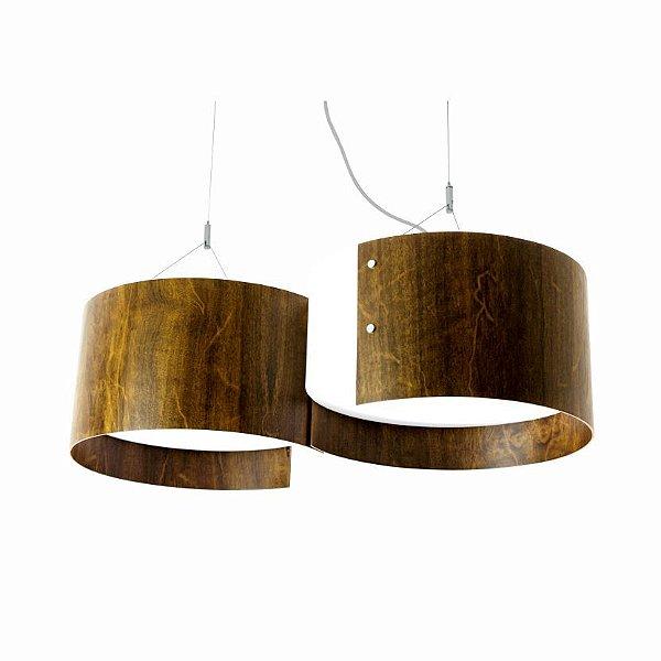 Pendente Duplo Organico Cilindrico Curvo Madeira Imbuia 20x72cm Accord Iluminação 4x E27 25W 283 Mesas e Cozinhas