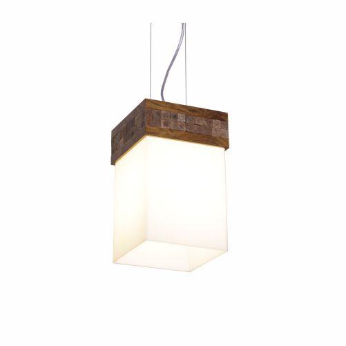 Pendente Pastilhado Cachepô Vidro Madeira Imbuia 30x15cm Accord Iluminação 1x E27 Bivolt 286 Mesas e Escritórios