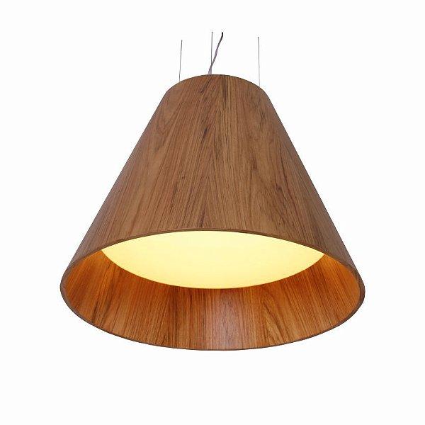 Pendente Cônico Acrílico Vertical Madeira Imbuia 70x80cm Accord Iluminação 4x E27 Bivolt 295 Salas e Entradas