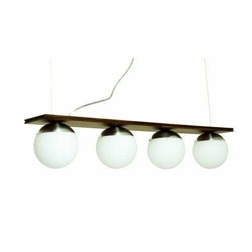 Pendente Sfera Classico Tetra Vidro Madeira Imbuia 13x90cm Accord Iluminação 4x E27 25W Bivolt 623 Salas e Mesas