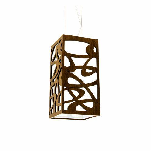 Pendente Olimpico Cubo Vertical Madeira Imbuia 30x20cm Accord Iluminação 1x E27 25W Bivolt 1013 Salas e Entradas