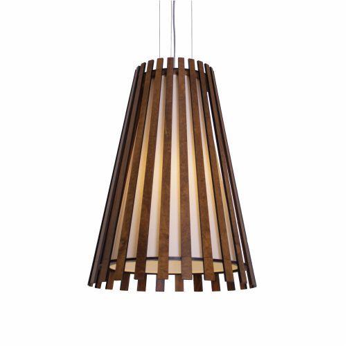 Pendente Ripada Cônico Vertical Madeira Imbuia 50x30cm Accord Iluminação 1x E27 25W Bivolt 1036 Salas e Entradas