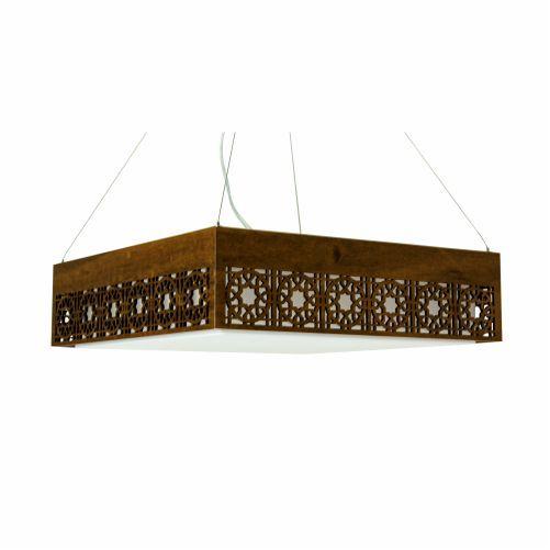 Pendente Star Quadrado Horizontal Madeira Imbuia 15x55cm Accord Iluminação 4x E27 25W Bivolt 1050 Salas e Entradas