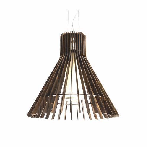 Pendente Stecche Di Legno Cônico Madeira Imbuia 50x51cm Accord Iluminação 1x E27 25W Bivolt 1135 Salas e Entradas