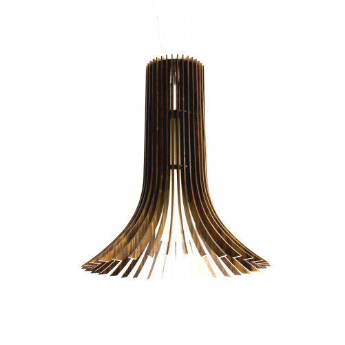 Pendente Stecche Di Legno Cônico Madeira Imbuia 50x44cm Accord Iluminação 1x E27 25W Bivolt 1136 Salas e Entradas