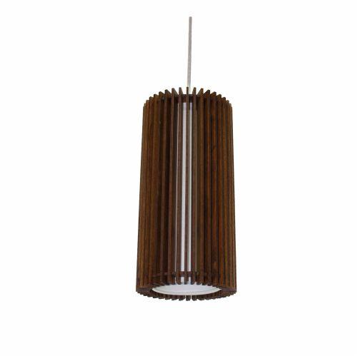 Pendente Stecche Di Legno Tubular Madeira Imbuia 30x15cm Accord Iluminação 1x E27 25W Bivolt 1141 Salas e Cozinhas