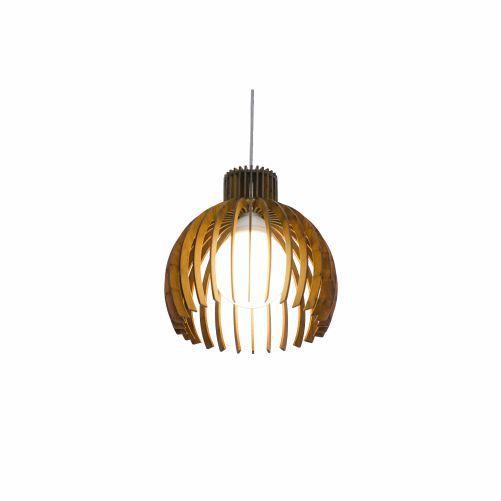 Pendente Stecche Di Legno Aramado Madeira Imbuia 26x27cm Accord Iluminação 1x E27 25W Bivolt 1180 Salas e Cozinhas