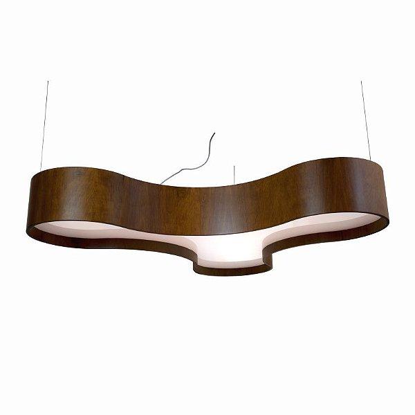 Pendente Trevo Organica Curvo Madeira Imbuia 20x120cm Accord Iluminação 6x E27 25W Bivolt 1222 Mesas e Salas