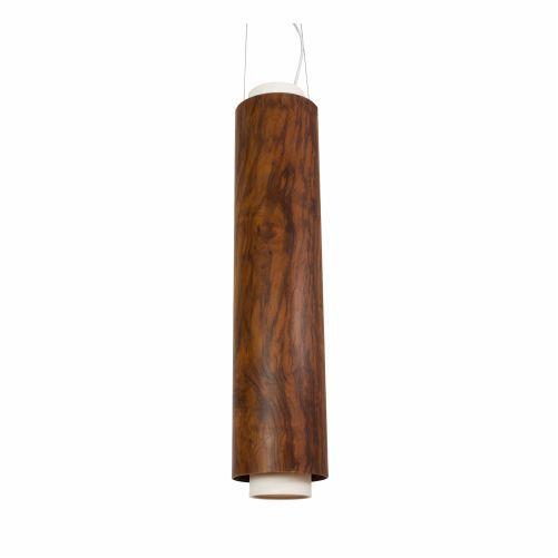 Pendente Tubo Vertical Cilindrico Madeira Imbuia 72x16cm Accord Iluminação 2x E27 25W Bivolt 1229 Salas e Mesas