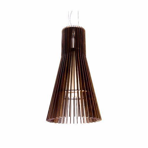 Pendente Stecche Di Legno Cônico Madeira Imbuia 140x75cm Accord Iluminação 1x E27 Bivolt 1252 Mesas e Cozinhas