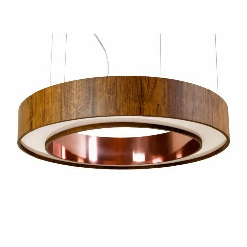 Pendente Anel Cilindrico Redondo Madeira Imbuia 12x70cm Accord Iluminação Fita LED 6W 1286CO Mesas e Quartos
