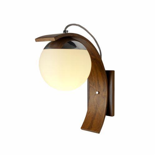 Arandela Sfera Vidro Curva Vertical Madeira Imbuia 35x15cm Accord Iluminação 1x E27 25W Bivolt 416 Salas e Quartos
