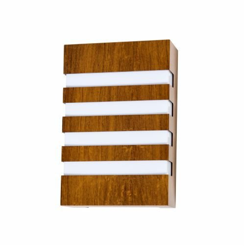 Arandela Riscos de Luz Clean Vertical Madeira Imbuia 30x20cm Accord Iluminação 2x E27 25W 433 Quartos e Salas