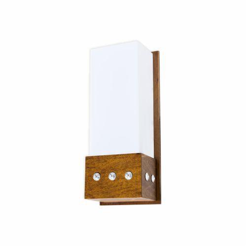 Arandela Cristais Cachepô Acrílico Madeira Imbuia 30x12cm Accord Iluminação 1x E27 Bivolt 4056 Salas e Quartos