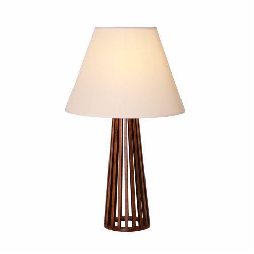Abajur Ripado Cônico Vertical Madeira Imbuia 66x40cm Accord Iluminação 1x E27 25W Bivolt 7014 Salas e Hall