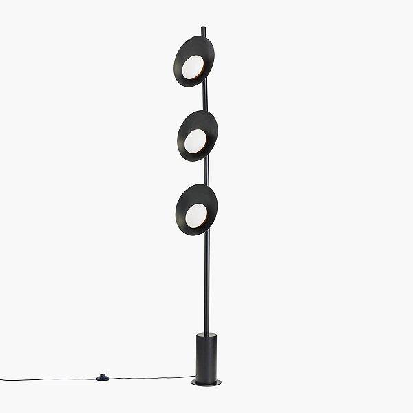 Coluna Orvalho Tripla Vertical Moderna Alumínio Preto 170cm Golden Art 3x LED 3 Watts C1820-3 Salas e Quartos