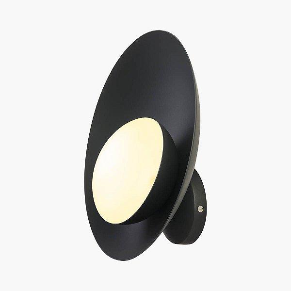 Arandela Orvalho LED Curva Moderna Alumínio Preto 27x27cm Golden Art 1x LED 3 Watts P1820-1 Salas e Escritórios
