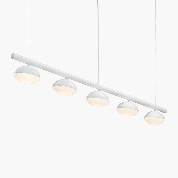 Lustre Avelã LED 5 Foco Moderno Alumínio Branco 120cm Golden Art 5x LED 3 Watts T1800-5 Mesas e Balcões