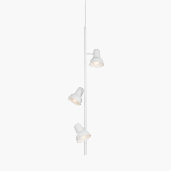 Pendente Escriba Triplo Foco Vertical Alumínio Branco 98cm Golden Art 3x E27 Bivolt T1810-3V Salas e Quartos