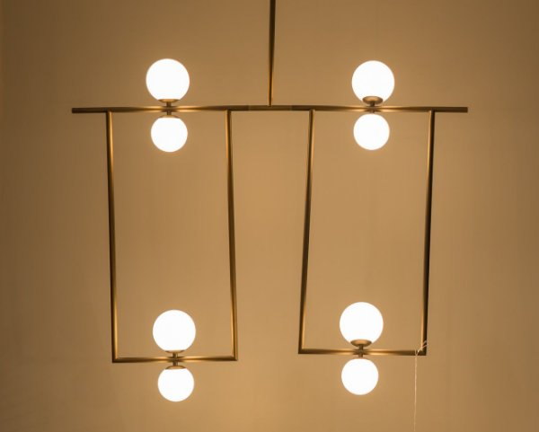 Lustre Balanço 8 Esferas Moderno Alumínio Dourado 120x110cm Golden Art 8x G9 Halopin Bivolt T1861-8 Salas e Hall