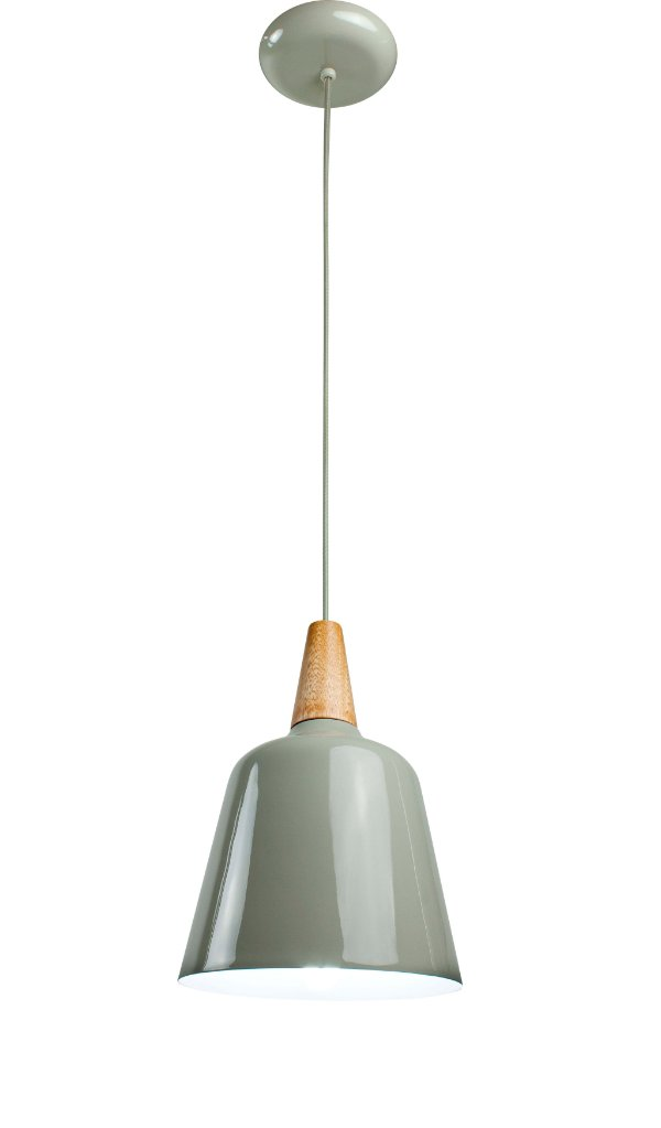 Pendente Wood Espiral Cônico Alumínio Acrílico 30x20cm Newline 1x E27 23W Bivolt SN10180FDBR Cozinhas e Salas