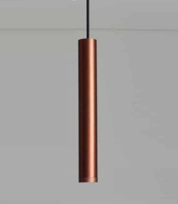Pendente Lisse Tubular Vertical Alumínio Cobre 31,5x4cm Newline 1x GU10/ GZ10 Mini LED 420COCO Balcões e Salas