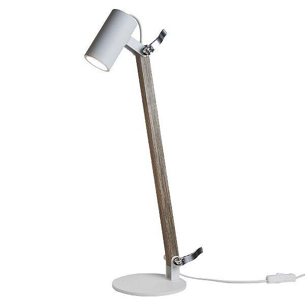 Luminária de Mesa Lisse Articulada Alumínio Madeira 58x36cm Newline 1x GU10/ GZ10 Mini LED 223BT Mesas e Quatos