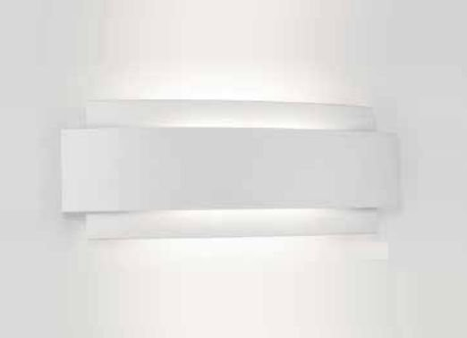 Arandela Courbe Curva Sobrepor Alumínio Branco 36,3x12,2cm Newline 2x PCI LED 6W 336LED1BT Corredores e Quartos
