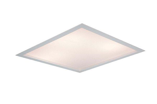 Luminária Flat Quadrada Acrílico Embutida Metal 24x10,2cm Newline 2x E27 25W Bivolt IN8001 Salas e Quartos