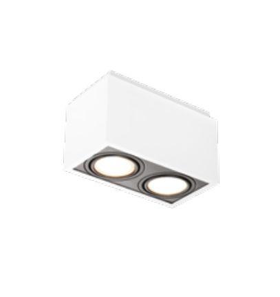 Spot Box Duplo Sobrepor Metal Acrílico Branco 21,9x11,6cm Newline 2x E27 PAR20 IN40132BTPT Cozinhas e Salas