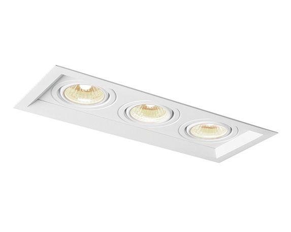 Spot Recuado Triplo II LED Embutido Alumínio 34,6x12cm Newline 3x E27 PAR20 50W IN50333BT Corredores e Salas