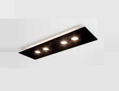Plafon Domino LED Sobrepor Quadrado Metal Preto 4,8x80cm Newline PCI LED 24W 2700K 523LEDBTDO Salas e Hall
