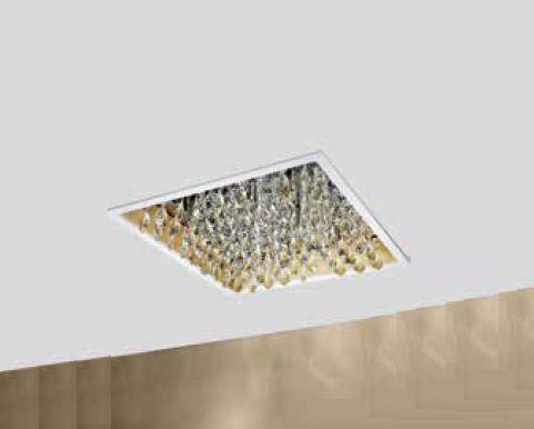 Plafon Lusso Embutido Cristais Alumíno Branco 9,5x37cm Newline 4x G9 Halopin Bivolt 350BTDO Cozinhas e Entradas