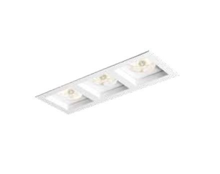 Spot Flat Triplo Embutido Retangular Metal Branco 31x13cm Newline 3x GU10/GZ10 PAR16 IN65032BT Salas e Cozinhas