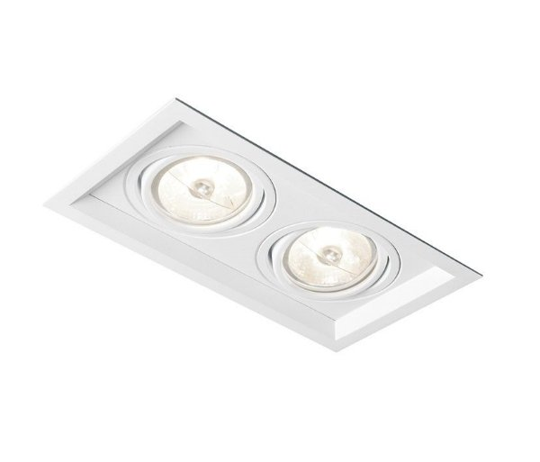 Spot Recuado Duplo II Embutido Alumínio Branco 8x24cm Newline 2x GU10/GZ10 AR70 LED IN51342BT Corredores e Salas