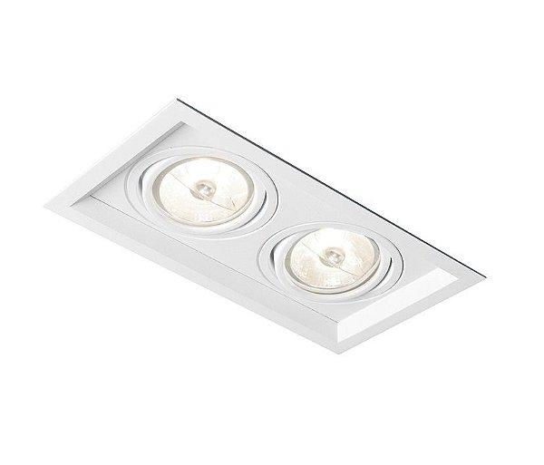 Spot Recuado Duplo II Embutido Alumínio Branco 15x32cm Newline 2x E27 PAR30 75W IN51362BT Corredores e Salas