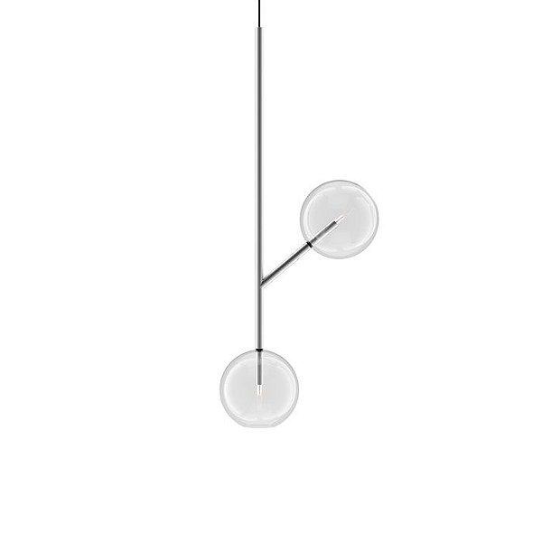 PENDENTE Klaxon Together l Duplo Esfera Bola Vidro Moderno 50,5 cm x 77,7 cm x 25 cm