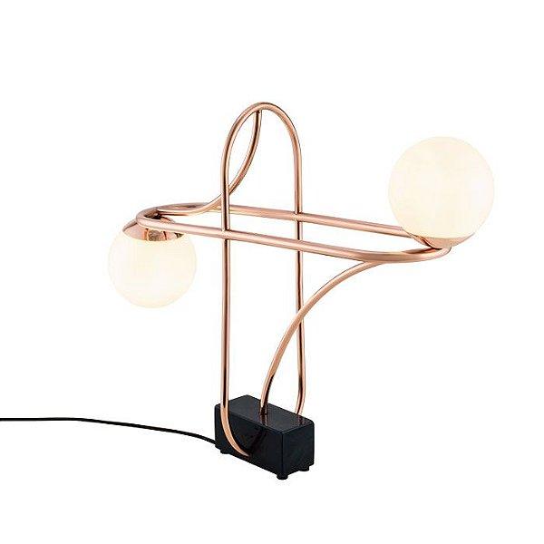 Abajur LUMINÁRIA DE MESA Klaxon We Duplo Aro Moderno Esfera Bola Vidro 55,6 cm x 45,5 cm x 15 cm