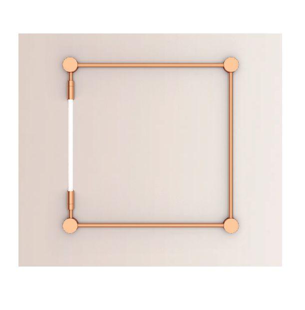 Arandela LUMINÁRIA Klaxon D`ORSAY Quadrada Tubular Led Moderna (1 lâmpada) 94 cm x 94 cm x 4cm