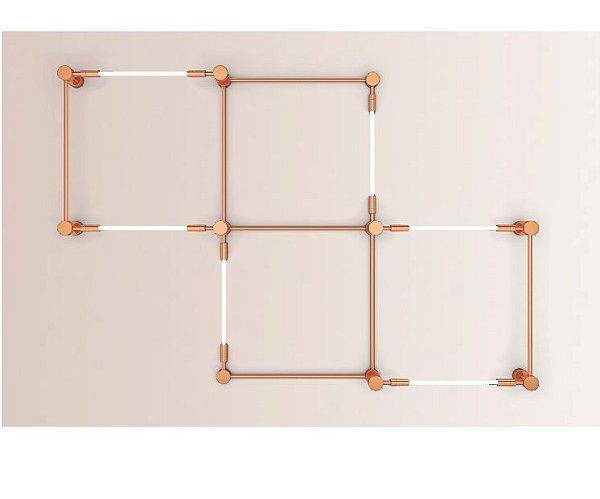 Arandela  LUMINÁRIA Klaxon TROCADÉRO Geométrica Tubular Led Moderna 265 cm x 180 cm x 16 cm
