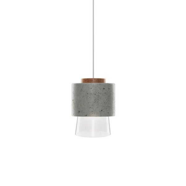 PENDENTE Klaxon HOUT Cone Redondo Concreto Vertical Bola Vidro 13 cm x 19 cm x 13 cm