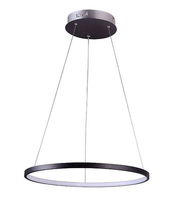 PENDENTE QUALITY NLI QPD1300-PT METAL LED Suspenso Aro Esfera Moderno 20W 3000K 40X2CM PRETO