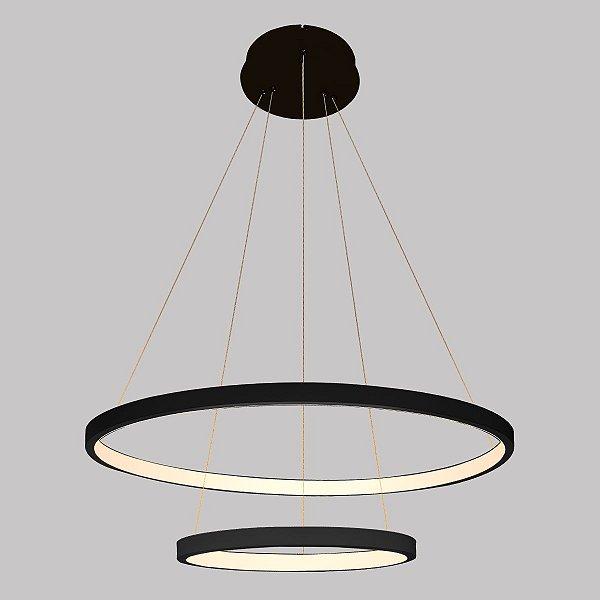 PENDENTE QUALITY NLI QPD1301-PT METAL  LED Suspenso Aro Esfera Moderno Duplo 40W 3000K 50 30X2CM PRETO