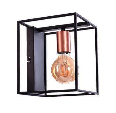 ARANDELA QUALITY NLI QAR1358 METAL Cube Quadrada Aramada Moderna Filamento 16cm x 21cm x18cm 1XE27 PRETO COBRE