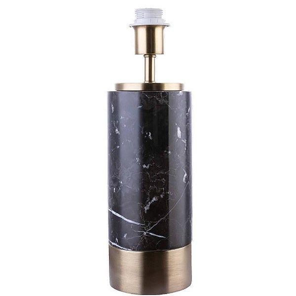 BASE PARA ABAJUR Bella MARMO GL001GB Cilndrica Dourado Preto  12cmx39cm  1xA60 40W