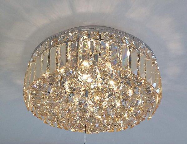 PLAFON Bella KRI HU1104 Cristal Lapidado Cromado Transparente 54cm x 26cm  9xG9 BIVOLT